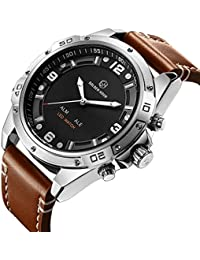 Mens Sport Watch Military Waterproof Silver Big Face Analog Digital Wrist Watches in Brown Leather Band