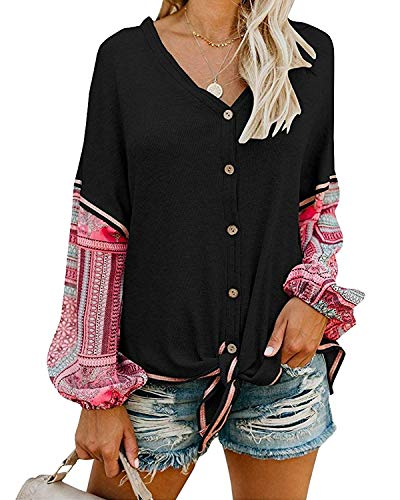 - Womens Waffle Knit Shirts Tie Knot Front Henley Tops Button Down Plain Blouse (Large, Multi Black)