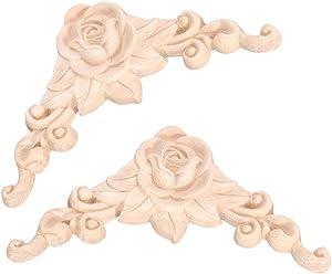 Garneck 2PCS Wood Carved Corner Applique Frame Rose Door Applique Decor Wood Applique Carved Onlay for Cabinet Cupboard