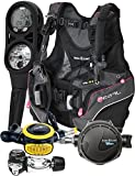 Aqualung Womens Pearl BCD Titan Regulator Dive Computer Scuba Package (X-Small, Black / Pink)