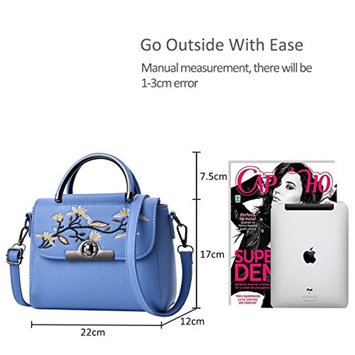Tote Nicole Bag Handbags Light Small Purse Crossbody Bag Top Handle amp;Doris Dark Shoulder Blue Leather Girls Bag Blue Women PU q7FCq