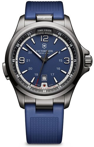 - Victorinox Men's 241707 Night Vision Analog Display Swiss Quartz Blue Watch