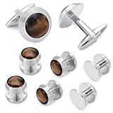 HAWSON Tiger Eye Stone Cufflinks and Studs Set For Tuxedo 6 Pcs Round Stud Button Mens Shirt Accessory