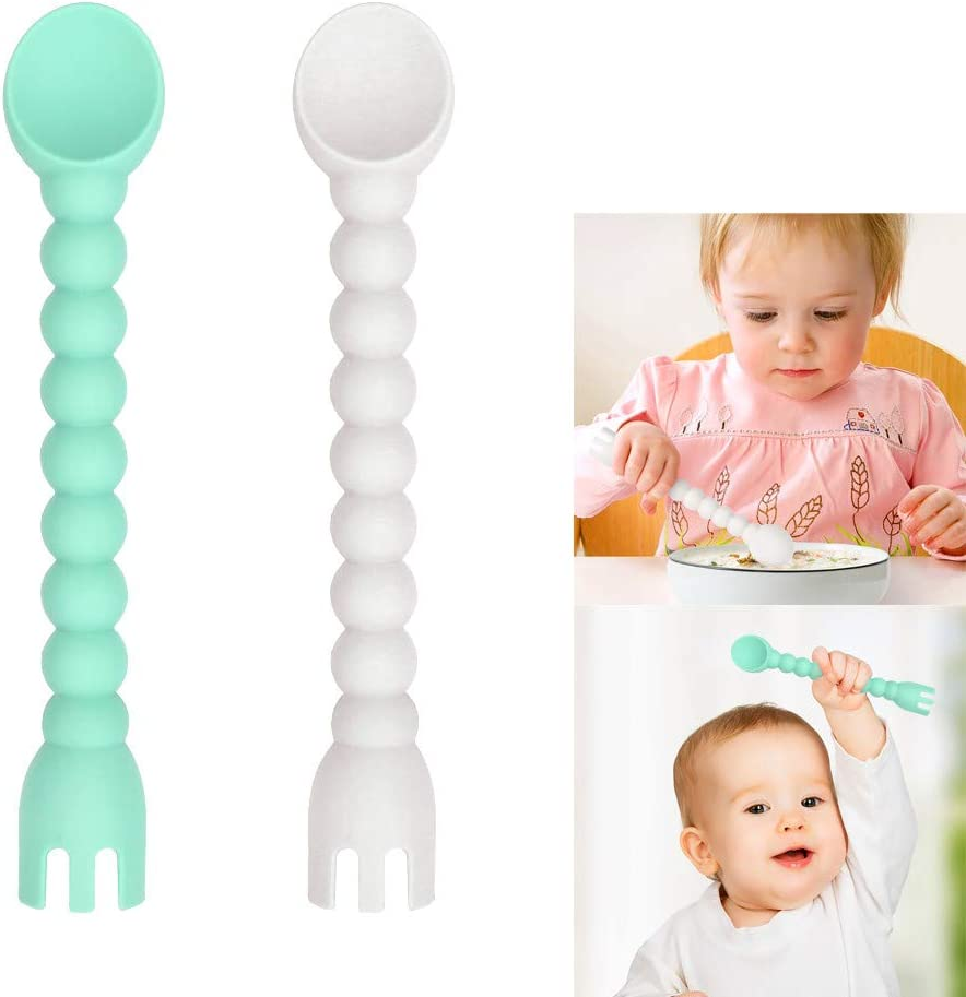 Loneflash 2Pcs Cute Silicone Baby Spoon Fork 2-in-1 Self-Feeding Baby Spoon Tools Kitchen Training Spoon Teether for Baby