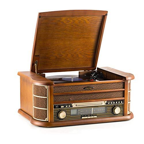 Shuman Retro houten 7-in-1 draadloze verbinding Music Center met afstandsbediening, 3-snelheden platenspeler vinyl…