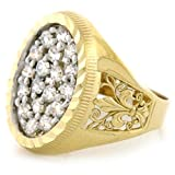 10k Solid Yellow Gold CZ Mens Ring Fleur De Lis Design
