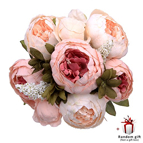 Judy Artificial Peony Silk Flowers Vintage Fake Flowers Bridal Bouquet for Home Wedding Party Decoration with 6 Flowers and 2 Buds (Light Pink)