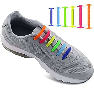 No Tie Shoelaces for Men and Women - Best in Sports Fan Shoelaces – Waterproof Silicon Flat Elastic Athletic Running Shoe Laces with Multicolor for Sneaker Boots Board Shoes and Casual