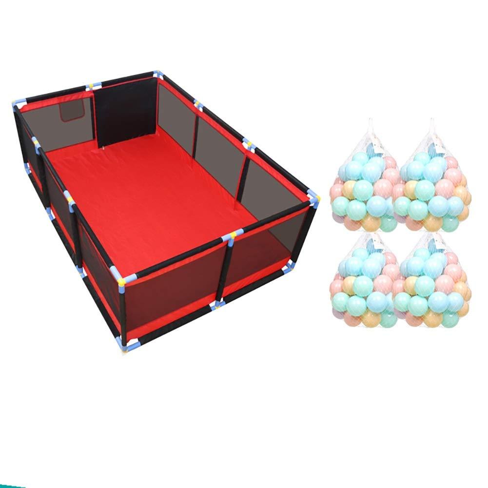 Tragbarer Baby Playard f/ür das Gehen Lernen Rot Schwarz Parc /à b/éb/é Playpens Gro/ße Zwillinge Sicherheitszaun Farbe : Large, gr/ö/ße : Playpen+mat+100ball