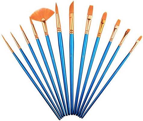 画材筆 水彩ガッシュペイントブラシは、異なる形状ラウンド尖った先端ナイロン毛はブラシセットアーティストがセットペイント絵画 高 耐久性 (色 : Blue, Size : 12pcs)