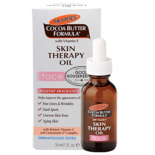 Palmer's Cocoa Butter Formula with Vitamin E Skin Therapy Oil for Face | Helps with Fine Lines & Wrinkles, Dark Spots, Uneven Skin Tone, and Aging Skin | Rosehip Fragrance | 1 fl. oz.