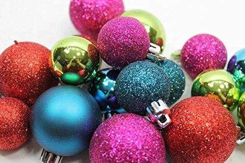 20 Holiday Time Mini Shatterproof Satin Shiny and Glitter Finish Bulb Christmas Ornaments (Red Green Purple & - Satin Tree Green Ornament
