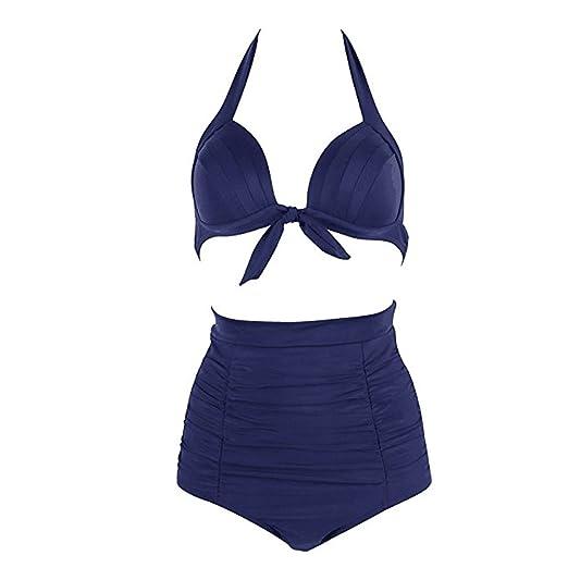 17393ab10649d Amazon.com: Retro 50s Halter High Waisted Bikini Set Push up Halter ...