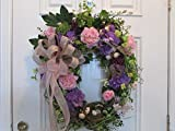 Spring, Summer Oval Grapevine Wreath with Garden Roses, Hydrangeas and Bird Nest