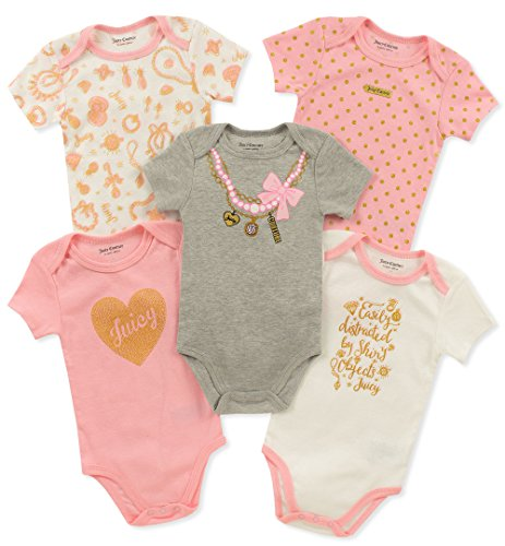 Juicy Couture Baby Girls 5 Pieces Pack Bodysuits, Pink/Gray, 18M