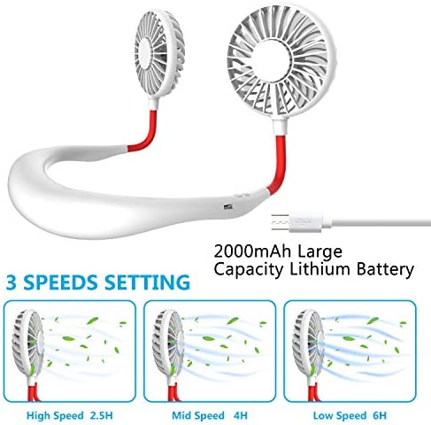 Hand Free Mini USB Personal Fan – Rechargeable Portable Headphone Design Wearable Neckband Fan,3 Level Air Flow,7 LED Lights,360 Degree Free Rotation Perfect for Sports, Office and Outdoor (white) 51ccTUcIZDL