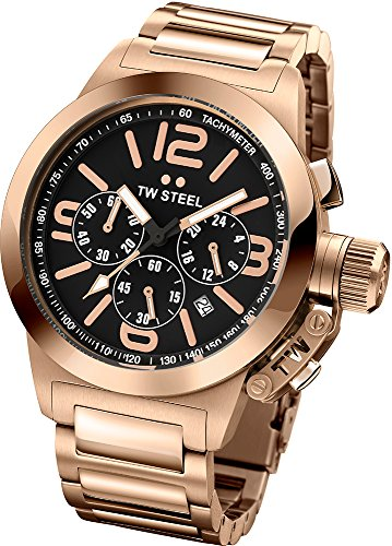 TW Steel Canteen Black Dial Chronograph Rose Gold PVD Stainless Steel Mens Watch TW307