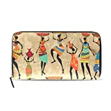 WellLee Leather Clutch Wallet African Woman With Vase Grunge Art Long Purse Bag