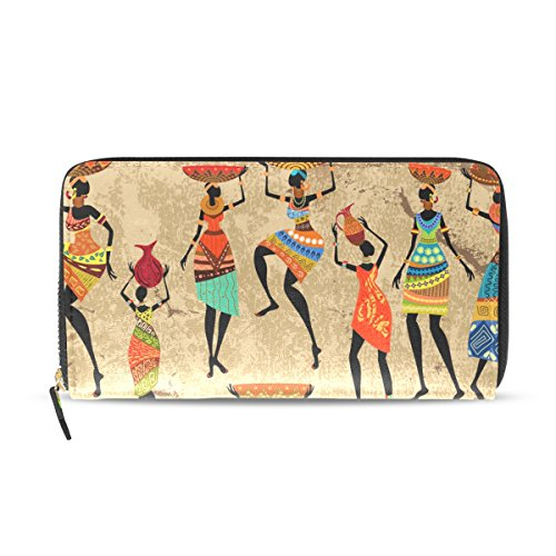 WellLee Leather Clutch Wallet African Woman With Vase Grunge Art Long Purse Bag by WellLee