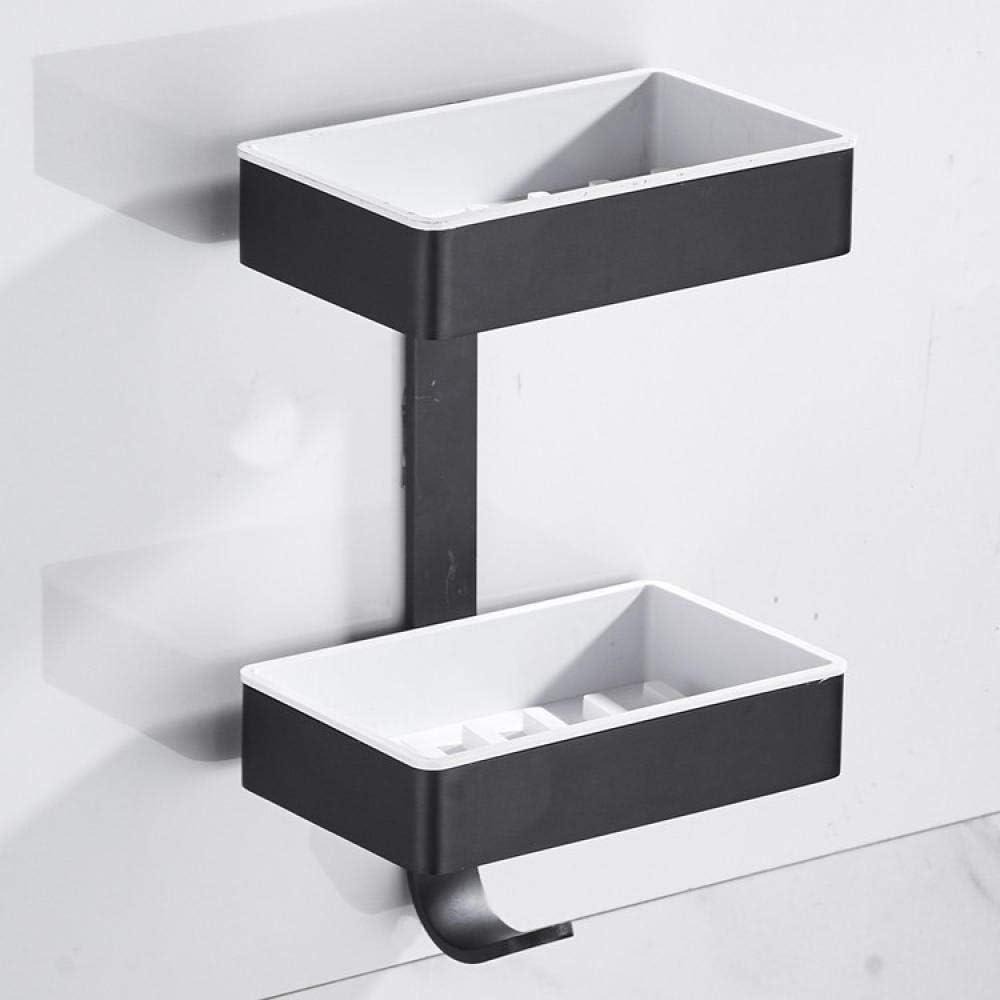 Hodeed 2Piezas Pegamento Sin Necesidad de Taladrar Estante Ducha Negra Estantes de Ba/ño de Aluminio Espacial Perforado Entramado de Ba/ño Muebles de Ba/ño Estanter/ía de Esquina