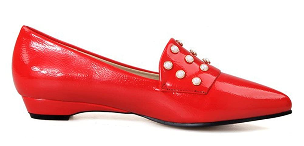 SHOWHOW Womens Casual Pearl Patent Leather Pointy Toe Flats Shoes
