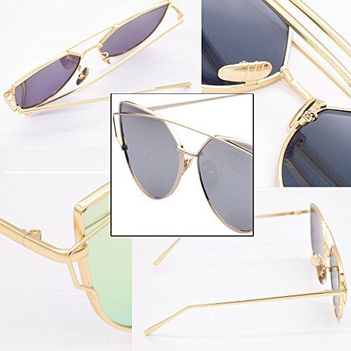 de Œil soleil Femmes Cool cadre chat en BOZEVON Lunettes argenté Classic Fashion de Or Lunettes miroir de Luxe métal Lunettes qnFgR