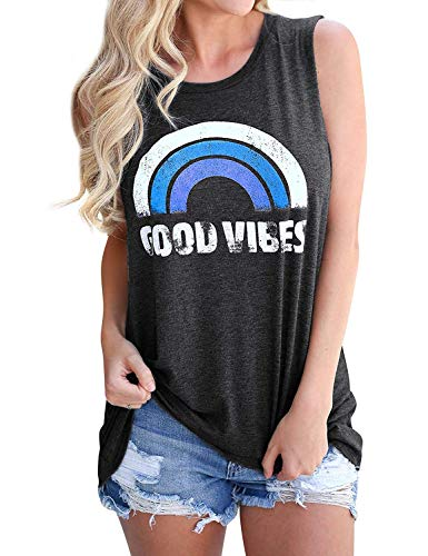 Women Tank Top Round Neck Loose Graphic T-Shirts Good Vibes Summer Tops Sleeveless Shirt (Medium, - Graphic Tank
