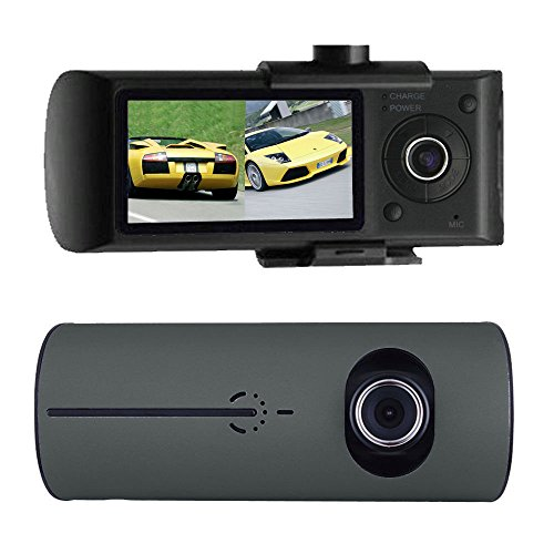 Naiflowers Car DVR Dash Cam 2.7'' Vehicle Camera Video Recorder GPS Dual Len Camera, G-Sensor, Double Lens Video Recording