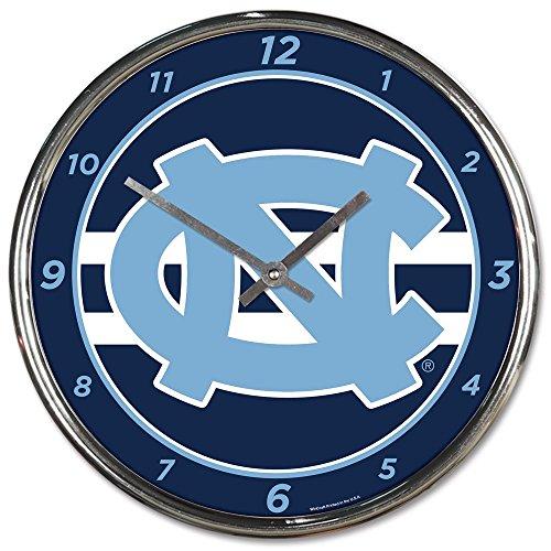 (Wincraft University of North Carolina UNC Tar Heels 12 inch Round Wall Clock Chrome Plated)