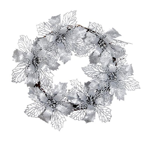Hot Sale!!Woaills Window Ornament Garland Wreath,Christmas Party Leaf Door Wall Decoration Diameter - 35cm/13.7'' (Silver) ()