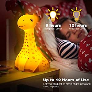 Night Lights for Kids/Babies, 2BEONE Baby Night Light, Portable Bedside Lamp, Wireless Charger, Safe ABS+PP, Eye Caring LED, Rechargable Battery Powered, Adjustable Brightness, Auto Shut Off (Orange)