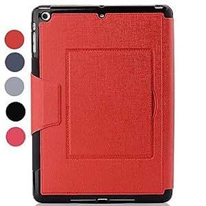 El caso Whole Package Durmiente PU del diseño de cuerpo completo con soporte para iPad Aire (colores surtidos) , Color Plata