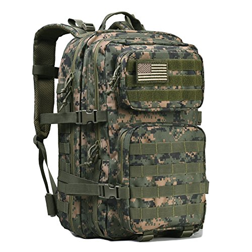REEBOW GEAR Military Tactical Backpack Large Army 3 Day Assault Pack Molle Bug Out Bag Backpack Rucksacks for Outdoor Hunting Hiking Camping Trekking Woodland Digital Camouflage