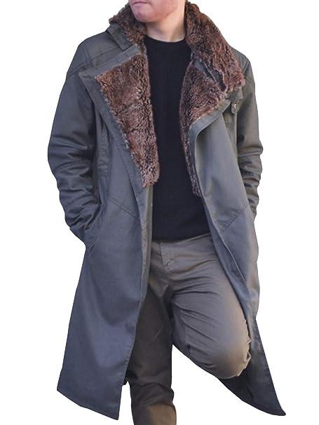 PASLTER Mens Blade Runner Trench Coat Officer Ryan Gosling