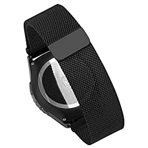 Wearable4U Pebble Time Round Milanese Magnetic Loop Replacement Watch Band Strap for Pebble Time Round 20 mm (Black)