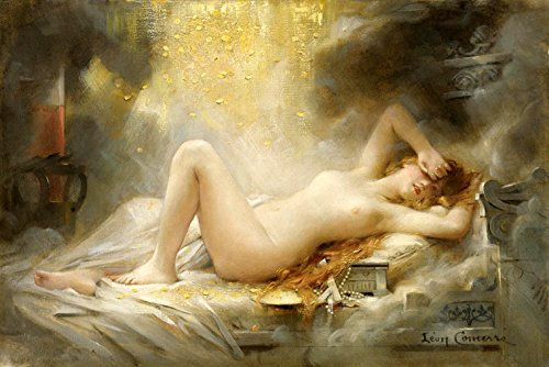DANAE GREEK MYTHOLOGY BEAUTIFUL NUDE WOMAN GOLD PAINTING BY LEON FRANCOIS COMERRE ON CANVAS REPRO