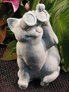 """CAT w/Binocular BIRDWATCHING STATUE Gray Cement 13"""" Sitting Kitten Sculpture GRAY Cast CEMENT GARDEN Outdoor Decor"""