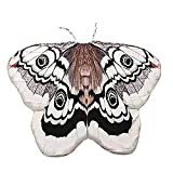 Ryshman Women Cape Halloween Shawl Wrap Printed Butterfly Wing/Peacock/Pumpkin Cloak (White butterfly)