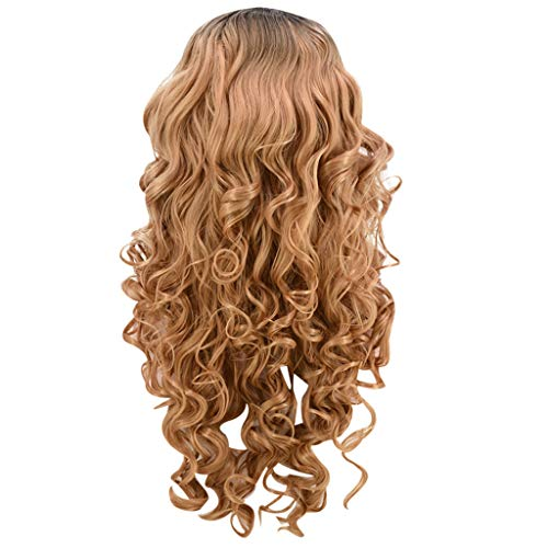 Women Natural Party Cosplay Long Wave Wig Mixed Color Curly Synthetic Wigs Heat Resistant (Coffee) ()