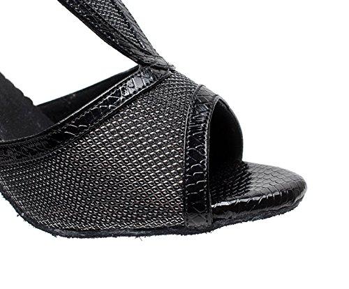 Sandals Dance Heels Modern JSHOE Latin Tango High Shoes Our40 Tea Black Salsa 5cm Shoes EU39 Jazz heeled7 Women's UK6 Samba w4OqP