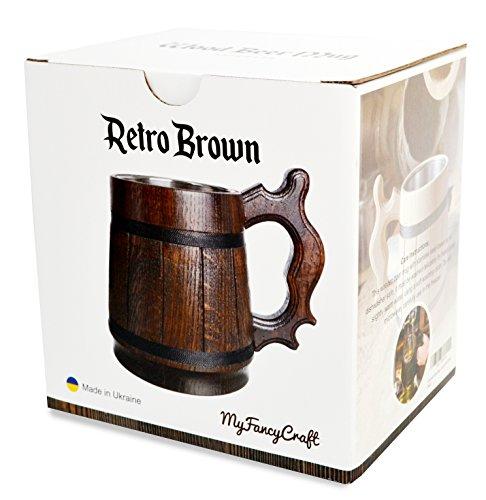 Handmade Wood Beer Mug 0.6L 20oz Natural Stainless Steel Cup Men Gift Eco-Friendly Souvenir Retro Brown