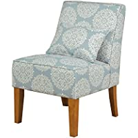 Kinfine Slipper Medallion Print Accent Chair, Soft Blue