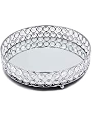 VINCIGANT Silver Mirrored Crystal Organizer Tray Vanity Makeup Tray Jewelry Perfume Cosmetic Tool Organizer Tray Decorative for Dresser, Bathroom, Bedroom (9.8 inches Diam)