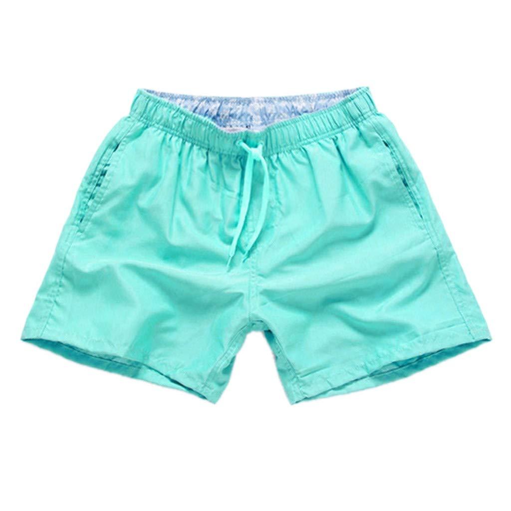 Solid Color Board Shorts,Men Pure Color Splice Stripe Beach Work Casual Men Short Trouser Shorts Pants