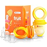 Kyпить NatureBond Baby Food Feeder / Fruit Feeder Pacifier (2 Pack) - Infant Teething Toy Teether in Appetite Stimulating Colors | BONUS Includes All Sizes Silicone Sacs (Sunshine Orange & Lemonade Yellow) на Amazon.com