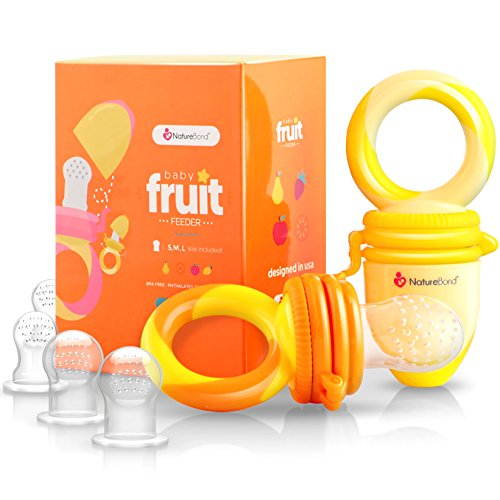 NatureBond Baby Food Feeder / Fruit Feeder Pacifier (2 Pack) - Infant Teething Toy Teether in Appetite Stimulating Colors | BONUS Includes All Sizes Silicone Sacs (Sunshine Orange & Lemonade Yellow) from NatureBond