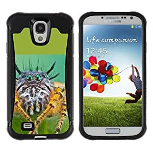Exotic-Star Hybrid Heavy Duty Shockproof Ballistic Fundas Cover Cubre Case para Samsung Galaxy S4 IV (I9500 / I9505 / I9505G) / SGH-i337 ( Super Spyder Ojos )