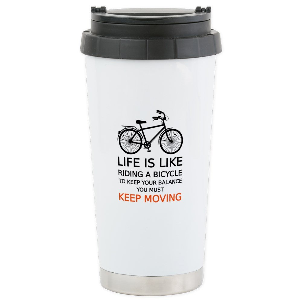 CafePress - life is like riding a bicycle, word art, text Trav - Stainless Steel Travel Mug, Insulated 16 oz. Coffee Tumbler