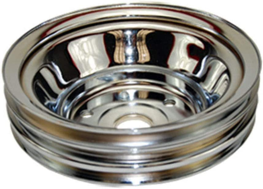 SBC Chevy 283-350 with Long Water Pump Pirate Mfg Triple Groove Crankshaft Pulley Chrome Steel