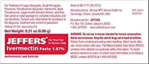 JEFFERS Ivermectin Paste 1.87% HORSE Wormer 1 Tube
